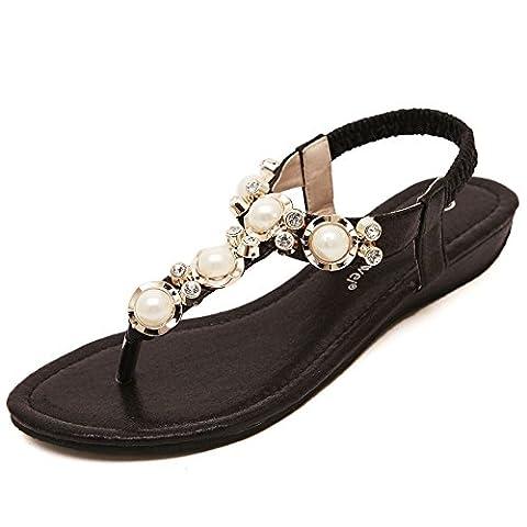 Meeshine Women Flat Gladiator Sandals Summer Shoes Black Size UK 3