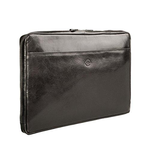 Maxwell Scott Bags® Luxus 17' Leder Laptophülle in Cognac Braun (Davoli) Schwarz