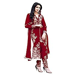 Muta Fashions Women's Georgette Salwar suit (SUIT152_23_Red_Free Size)