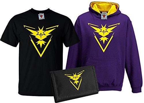 Reality Glitch Kinder Deluxe Team Instinct T-Shirt, Contrast Kapuzenpullover & Wallet Set (Gelb, X-Large) (Gelben T-shirt Branchen)