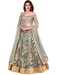 Shivam Women's Silk Embroidered Lehenga Choli (greyNET_grey_Free Size)