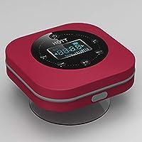 HOMYY Bluetooth Haut-Parleur de Douche de Bain Lecteur de Musique FM Radio sans Fil étanche Portable Unique Ventouse puissante écran LCD Batterie intégrée, Red, Taille Unique