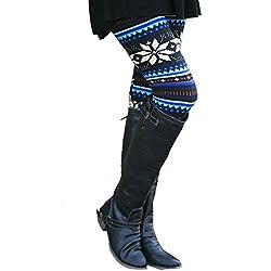 MORCHAN ❤ Casual Femmes Lady Skinny imprimé géométrique Stretch Pantalon de Jegging Slim Leggings Jeans Combinaisons Pantalon Court Collants Knickerbockers(L,Bleu)