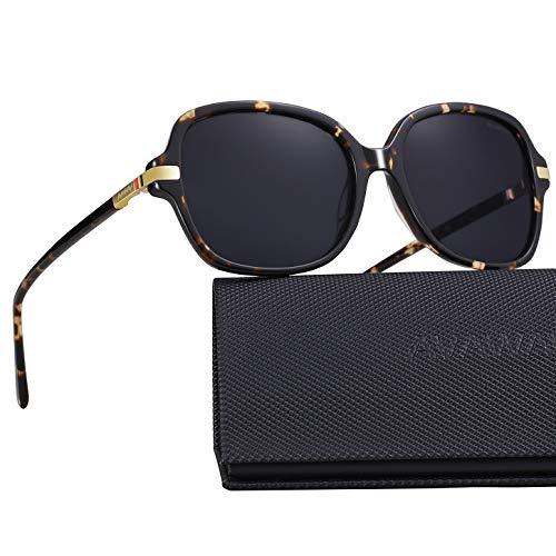 AVAWAY Runde Damen Sonnenbrille Polarisierte Frauen Brillen UV400 Schutz, Acetat Rahmen, A2