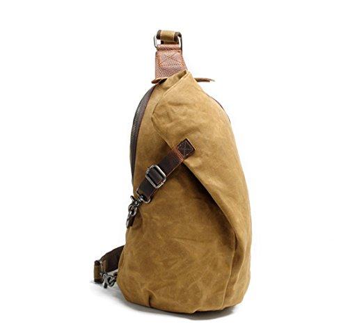 DAFROH Wasserdicht Schultertasche aus Gewachstem Canvas Unisex Umhängetasche für Outdoor Sport und Freizeit Exkursion A_Braun