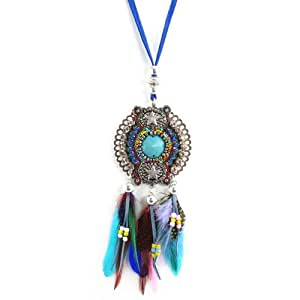 Bibi Bijoux Statement Beaded Necklace with Feathers and Suede Tie in Blue