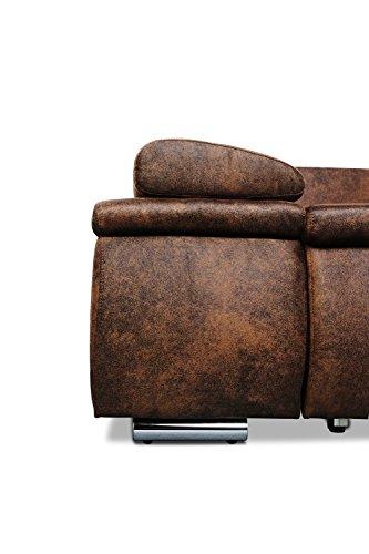 Mein Sofa CLVint Vintage Eckgarnitur Cali mit Schlaffunktion und Bettkasten, circa 274 x 85 x 180 cm - Sitzhöhe circa 42 cm, Kunstleder, Recamiere rechts oder links verwendbar - 6