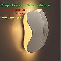 RITY Luce Notturna Sensore di Movimento Alimentazione a Batteria, Luce da Parete con LED e Doppio Sensore per Scale, Bagno e Guardaroba - Nessun bisogno di batterie - con cavo USB
