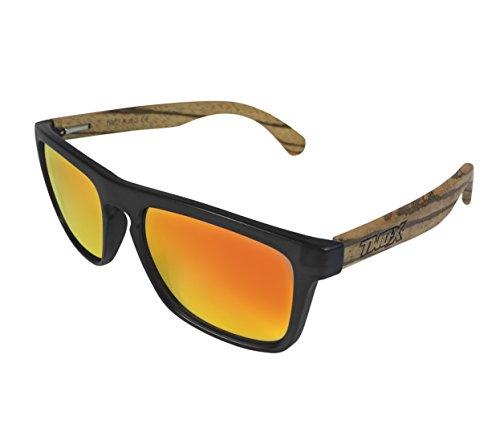 Two-X Sonnenbrille Wood Braun Schwarz Wayfarer Look Holz Zebrano verspiegelt