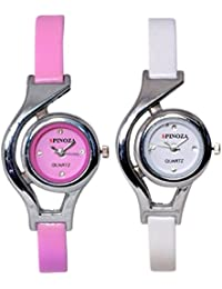 Freny Exim Sophisticated Set Of 2 Pink And White Round Dial Soft Strap Analog Women Watches For Girls