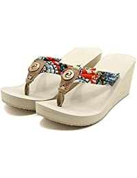 Beige, 7 : Summer Women Shoes Retro Bohemian Style Flip Flops Sandals High Heel Ladies Woman Wedges Printed Women...