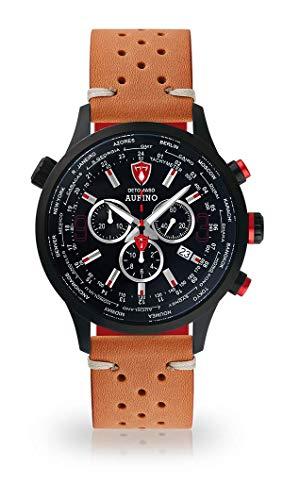 DETOMASO AURINO Montre pour Hommes Chronographe Chronographe Analogique Quartz Marron Racing Bracelet Cuir Vintage Cadran Noir DT1061-A-844