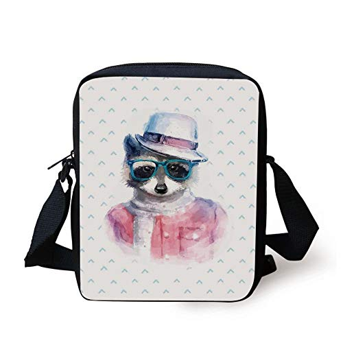 Funny,Retro Hipster Funky Raccoon with Sunglasses Hat Pullover Portrait Animal Humor Theme,Pink Blue Print Kids Crossbody Messenger Bag Purse