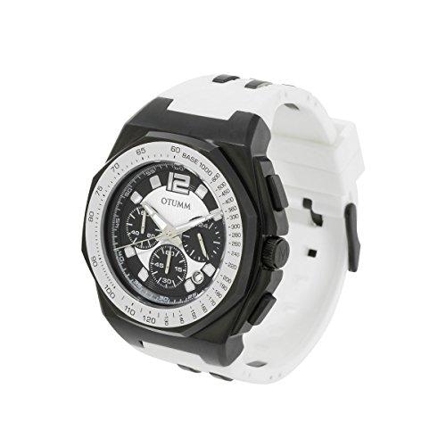 OTUMM Herren-Armbanduhr Sports Tachymeter 45 mm, schwarz/weiß Chronograph Quarz Kautschuk 02187