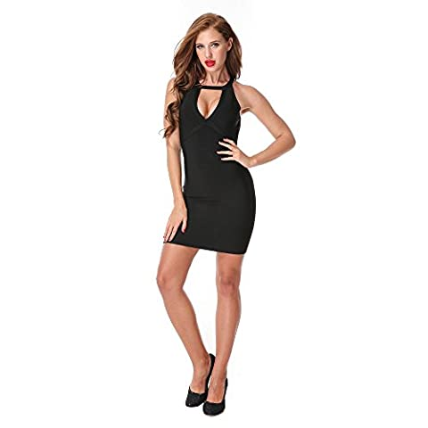 Canvalite Women's Low Cut Backless Sleeveless Strap Halter Bandage Bodycon Dress