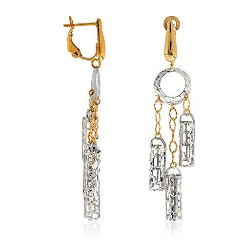 Gioiello Italiano Boucles d'oreilles chandelier en or, 14carats blanc