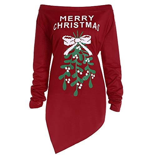 (SuperSU Damen Weihnachten Pullover Langarmshirt Santa Claus und Schnee Druck Sweatshirt Damen Mädchen Weihnachtspullover Langarm Schulterfrei Bluse Long Sweatshirt Kurze Kleid)