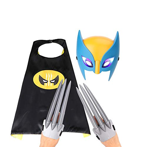 Erwachsene Wolverine Kostüm Für - DMAR Wolverine Kostüm Kit, Wolverine Claws Mask Mantel, Wolverine Mask und Claws Fancy Dress Halloween-Kostüm