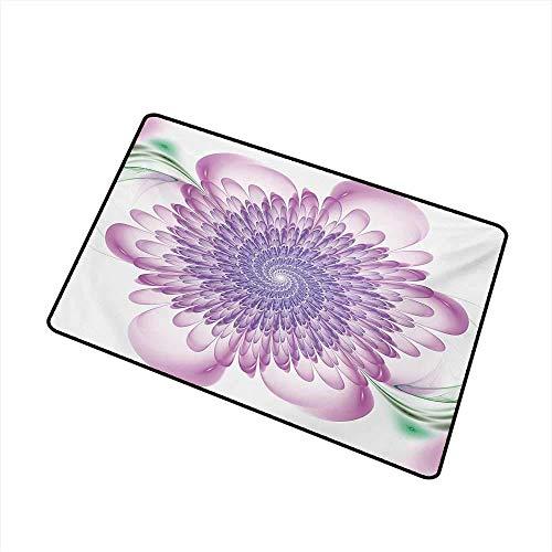 Kinhevao Spires Welcome Fußmatte Digital Floral Harmonic Spirals mit blühenden, hypnotischen Blütenblättern Traumhafter Aufdruck Fußmatte ist geruchlos und langlebig, Violette Badematte - Hypnotische Violett