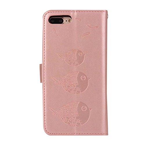 Hülle für iPhone 7 plus , Schutzhülle Für IPhone 7 Plus, Präge Vogel Muster PU Ledertasche mit abnehmbarem Rücken, Flip Stand Wllet Tasche mit Lanyard & Card Slots ,hülle für iPhone 7 plus , case for  Rosegold