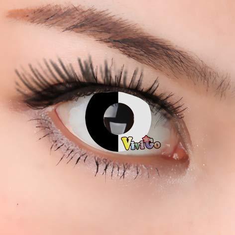 Kontaktlinsen Farbige Weiche Crazy für Ihre Verkleidung als Vampir, Zombie, Dämon, Geist, Werwolf, Volturi, Cosplay, Halloween Party mit oder ohne Schminke BLACK AND WHITE CL303