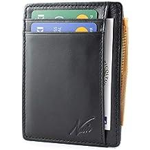 520f5c5692 Portafoglio Uomo Piccolo Sottile - NUCCI DESIGN® - Mini Porta Carte Credito  Uomo in Vera Pelle - con Protezione RFID e tasca Banconote - Compatto e  Spazioso ...