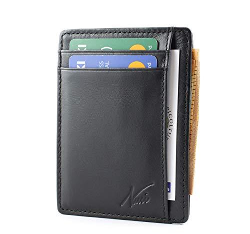 portafoglio uomo-porta carte credito-porta badge-in vera pelle con protezione rfid-portafogli piccolo sottile per documenti, tessere, biglietti visita-regalo uomo e donna nucci design (nero)