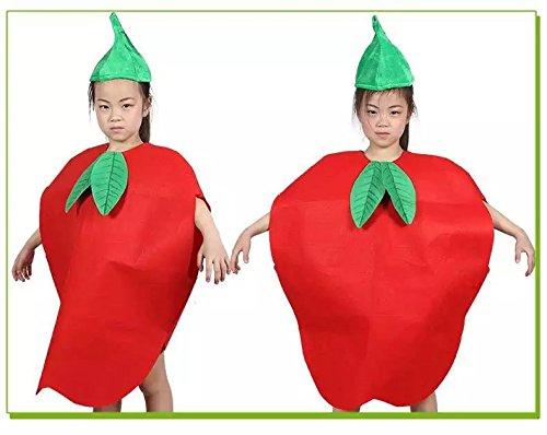 Kinder Früchte Gemüse & Natur Kostüme Fancy Dress Jungen und Mädchen (roter Apfel) (Roter Apfel Kind Kostüme)