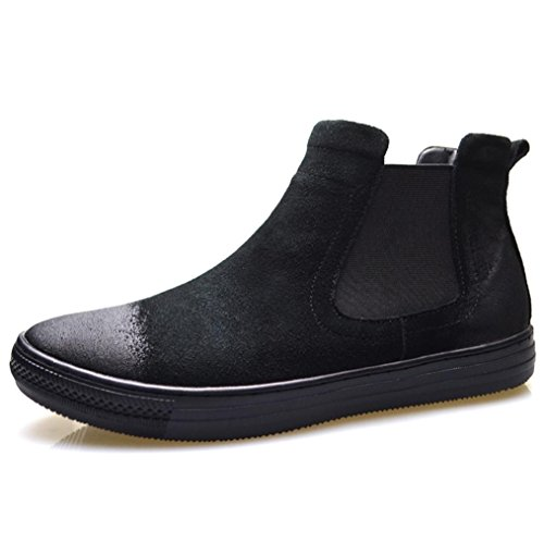 Heart&M casual en cuir haut-coupent daim cuir chaussures Black