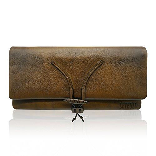 LETEULO Unisex Clutches Handtaschen Foldover Clutch Geldbörse Dip Dye Leder Brieftaschen für Frauen und Männer (Braun) (Brieftasche Leder Falten Braun)
