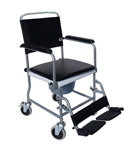 FabaCare Premium Toilettenrollstuhl, Badezimmerrollstuhl, Toilettenstuhl, Rollstuhl mit WC-Eimer, Hygienerollstuhl bis 130 kg