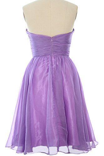 MACloth 2017 Strapless Chiffon Short Bridesmaid Dress Cocktail Party Formal Gown Weiß