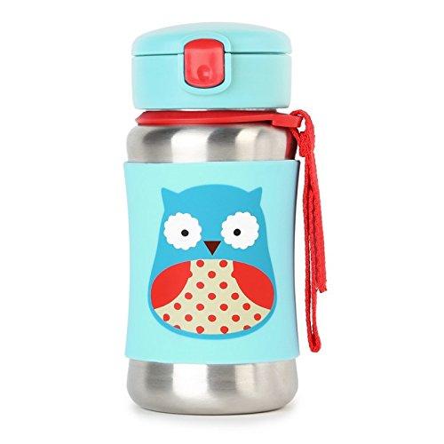 Skip Hop 252511 Trinkflasche, Edelstahl, für Kinder, mit Silikonhülle, mehrfarbig, Eule Otis