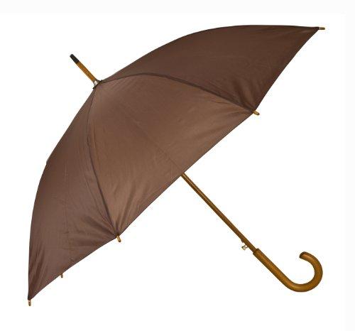 Holz gebogenen Griff Regenschirm Braun braun