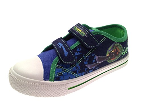 Chinelo Tartarugas Verde Crianças Lona Ninja Sneaker Adolescente Jovens Velcro Mutante Azul ExUwq64