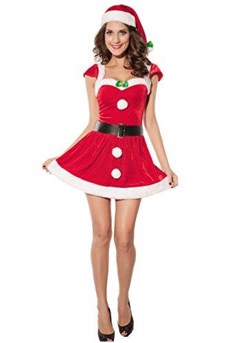 Shangrui Damen Cosplay Kostüme Outfit Rot Samt Weihnachten Mini Kleiden