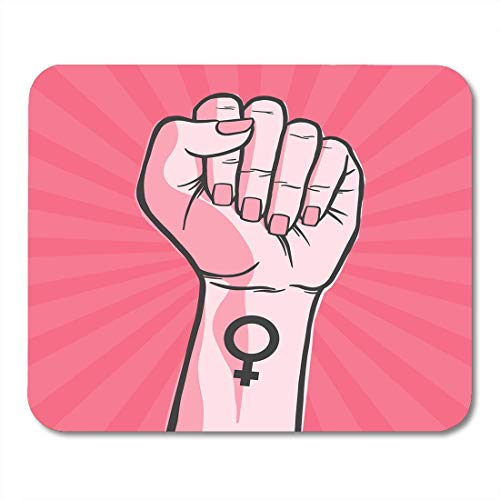Símbolo de la Alfombrilla de ratón El Movimiento Feminista La Mano de la Mujer Levanta su puño para los Cuadernos, computadoras de Escritorio, Alfombrillas de ratón, Material de Oficina