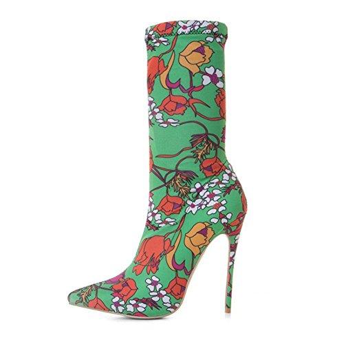 CYMIU Damen Feine Hochhackige Kurze Stiefel Stiletto Herbst Und Winter Spitzschuh Mittlere Rohr Floral Mode Stiefel Atmungsaktiv Verschleißfest, 35 -