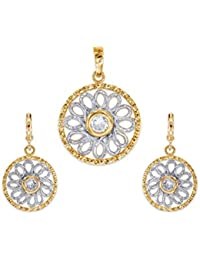 "Peora 18K Gold Plated Floral Wired Pendant Earring Set With Free 18"" Chain For Women And Girls"