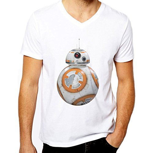 BB8 Robot Star Wars Herren V-Neck T-Shirt Weiß