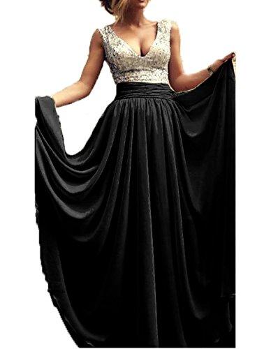 Babyonlinedress Elegant Sexy A-ligne Robe de soirée/Bal/Cérémonie Col V Longue ras au sol avec Paillette/Sequin en mousseline de soie Noir