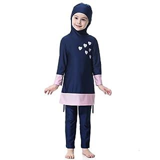 Feicuan Mädchen Badeanzug Muslimisch Kinder 2-piece Badebekleidung mit Badekappe Ganzkörperansicht lange Ärmel Hijab Islamic Modest Beachwear
