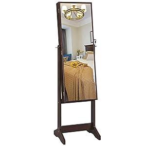 SONGMICS Schmuckschrank, Spiegelschrank, Standspiegel, Ganzkörperspiegel, Geschenk, einfacher Aufbau, braun JJC69BR