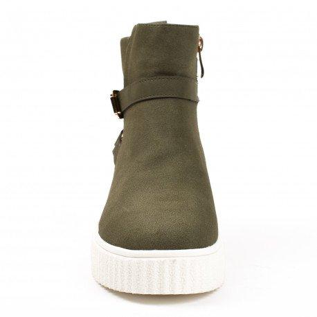 Ideal Shoes - Bottines style creepers Corina Taupe