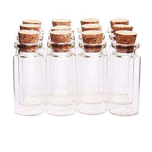 1,5 Ml Mini (Kentop 12Stk Mini Glasflasche mit korken 1,5ML Klein Glasfläschchen Leer Flasche Weithals Glas Bottle für Drift Phiole Fläschchen wünschend Flasche)