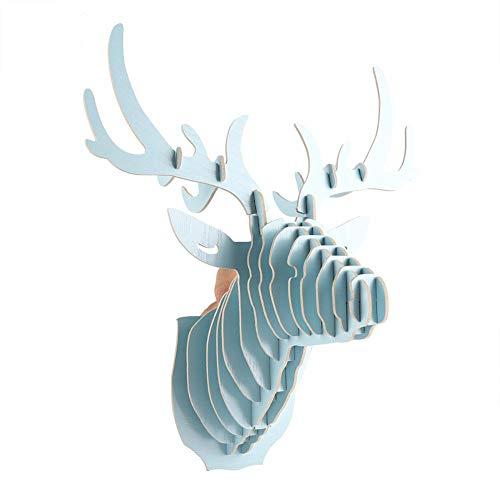 Décoration murale tête de cerf, kit de puzzle en bois coupé bricolage 3D sculpture tête de cerf(Bleu)