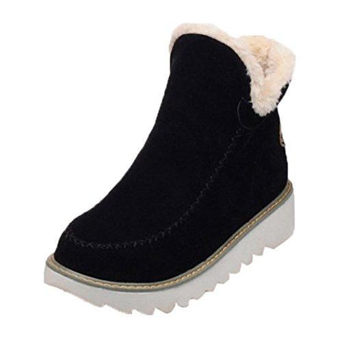 Toamen Zapatos Planos de Mujer Invierno Botines de Nieve con Forro de Piel Cálida (EU:38/CN:39, Negro)