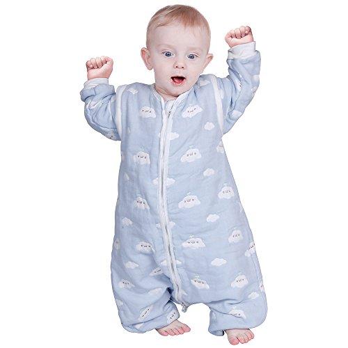 Lictin Schlafsack mit Füße Schlafsack Baby mit abnehmbaren Ärmeln für Säugling Kinder 1-3 Jahre alt von 75 bis 95 cm 100{dd5b09e67f5f170789e773290b875b45b5bf78234182286b44c37df829844c51} Bio-Baumwolle 2.0tog