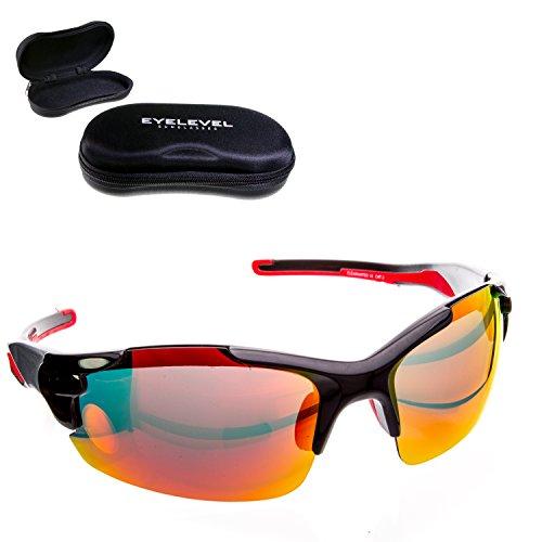 CLEARWATER + HARDCASE | Fahrradbrille aus sehr leichtem Kunststoff - Polbrille mit UV400 Schutz vor UV-A und UV-B | bruchsichere Kunststoffgläser | auch als Alltagsbrille Sportbrille | blau & orange