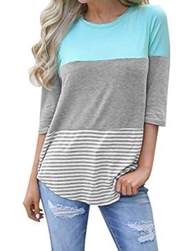 Ningsun Estive Moda da Donna Casuale Sciolto Patchwork a Strisce Pizzo Camicie Maniche a Tre Quarti T-Shirt Accogliente...